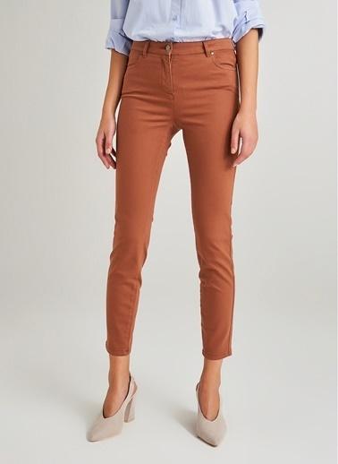 Monamoda Yüksek Bel Skinny Pantolon Taba